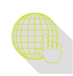 earth globe with cursor pear icon with flat style vector image