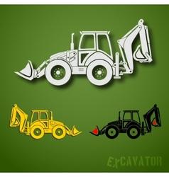 Excavator set vector image