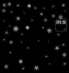 falling snow on a black background 10 eps vector image