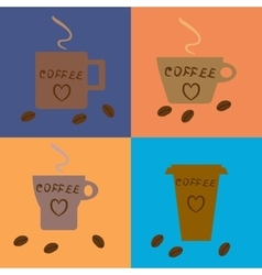 Four coffee cups of different types on vector