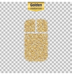 Gold glitter icon of mouse isolated on vector image