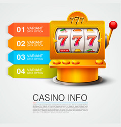 Golden info list slot machine wins the jackpot vector