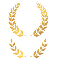 Golden laurel wreaths round and half vector