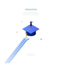 Graduation concept - modern isometric web vector