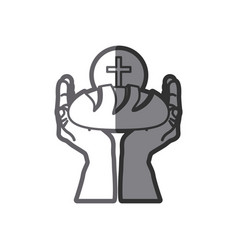 grayscale silhouette of hands holding bread and vector image