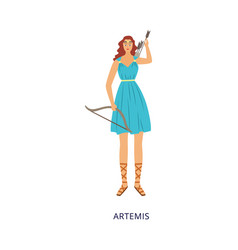Greek goddess artemis with bow and arrows flat vector