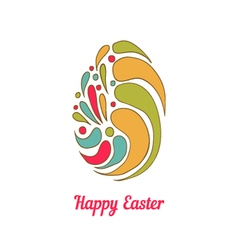 Greeting card with full color doodle easter egg vector image
