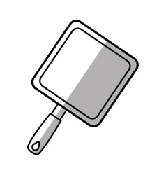 Grill pan cook utensil steel shadow line vector