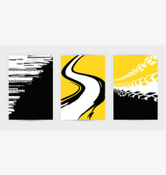 Grunge tire posters set 17-21 vector