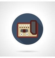 Guitar stompbox flat color round icon vector