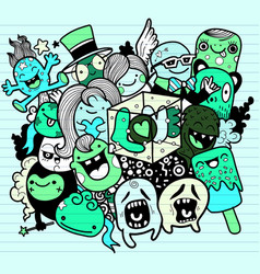 Hand drawn cute monsters with letters love vector