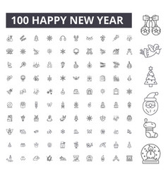 happy new year editable line icons 100 set vector image