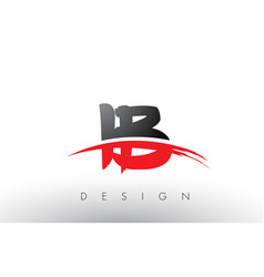ib i b brush logo letters with red and black vector image
