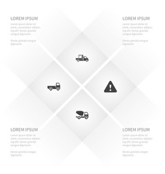 icon transport set of lifting machine trucking vector image