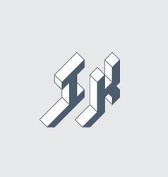 Ik - logo or 2-letter code isometric 3d font vector