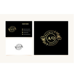 Initial aq letters hand drawn feminine and floral vector