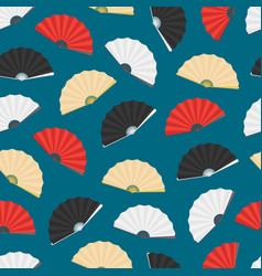 japanese folding paper fan seamless pattern vector image