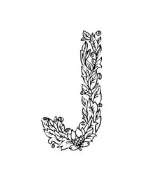 Letters floral j vector