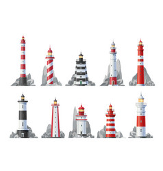 Lighthouse icons nautical towers beacon lights vector