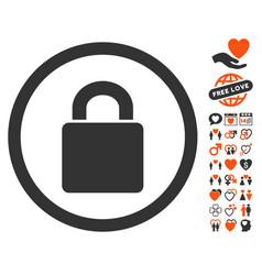 Lock icon with valentine bonus vector