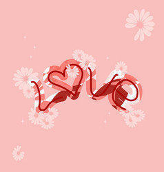 love drawn letters with trendy coral colors vector image
