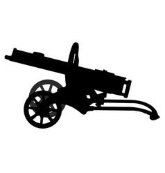 Machine gun maxim silhouette military weapon vector