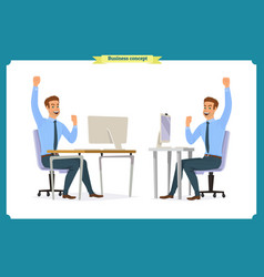 male office worker poses sitting at computer vector image