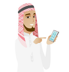 Muslim businessman holding mobile phone vector