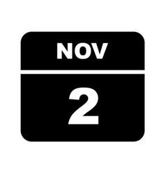 November 2nd date on a single day calendar vector