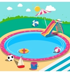 Outdoor swimming pool with toys summer time vector