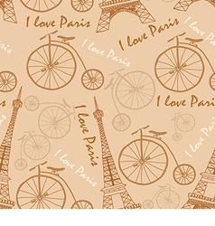Pattern of the Eiffel Tower on a beige background vector