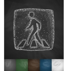 Pedestrian crossing sign icon vector