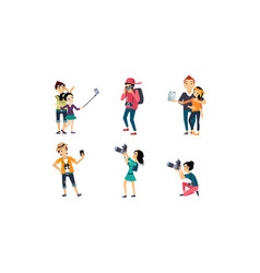 people taking photos set professional vector image