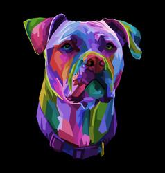 Pitbull terrier dog on pop art geometric vector