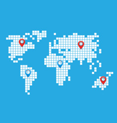 pixel world map vector image