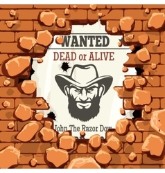 Police wanted advertisment with brick wall vector image