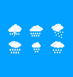 rainy cloud icon blue set vector image