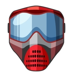 Red mask for paintball icon cartoon style vector image