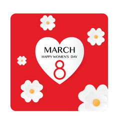 Red paper cut flower 8 march women s day vector