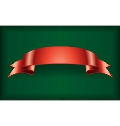 Red ribbon satin banner green vector