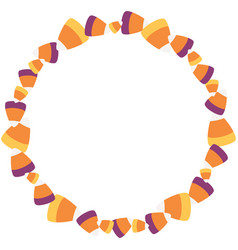 scattered sweet candy corn circle wreath vector image