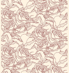 seamless pattern made of linear engraving rose vector image