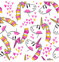 seamless pattern with rainbow unicorn heads vector image