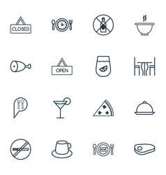 Set of 16 cafe icons includes dining room stop vector