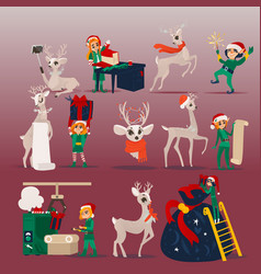 set of christmas and new year vector image