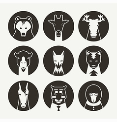 Set of stylized animal avatar black vector