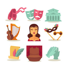 set with theatre attributes vector image