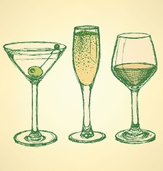 Sketch martini champagne and wine glass vector image