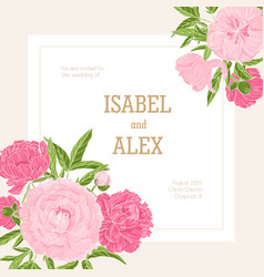 square wedding invitation template decorated with vector image