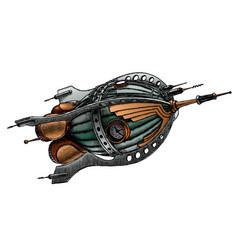 steampunk rocket vector image
